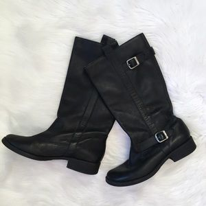 MIA Black Leather Buckle Tall Boots